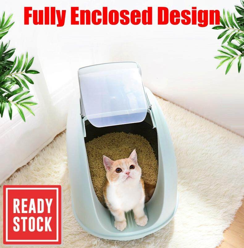 Jumbo Hooded Cat Litter Pan Cat Toilet With Free Scoop Tandas Kucing Cat Litter Box
