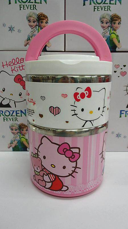 [Ready Stock] 2 Layer Stainless Steel Cartoon Lunch Box (BGJAYA)-Hello Kitty