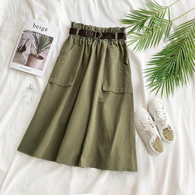 ?PRE-ORDER 21 DAYS?Chic port-like tooling wind army green high waist half-length long A-line skirt