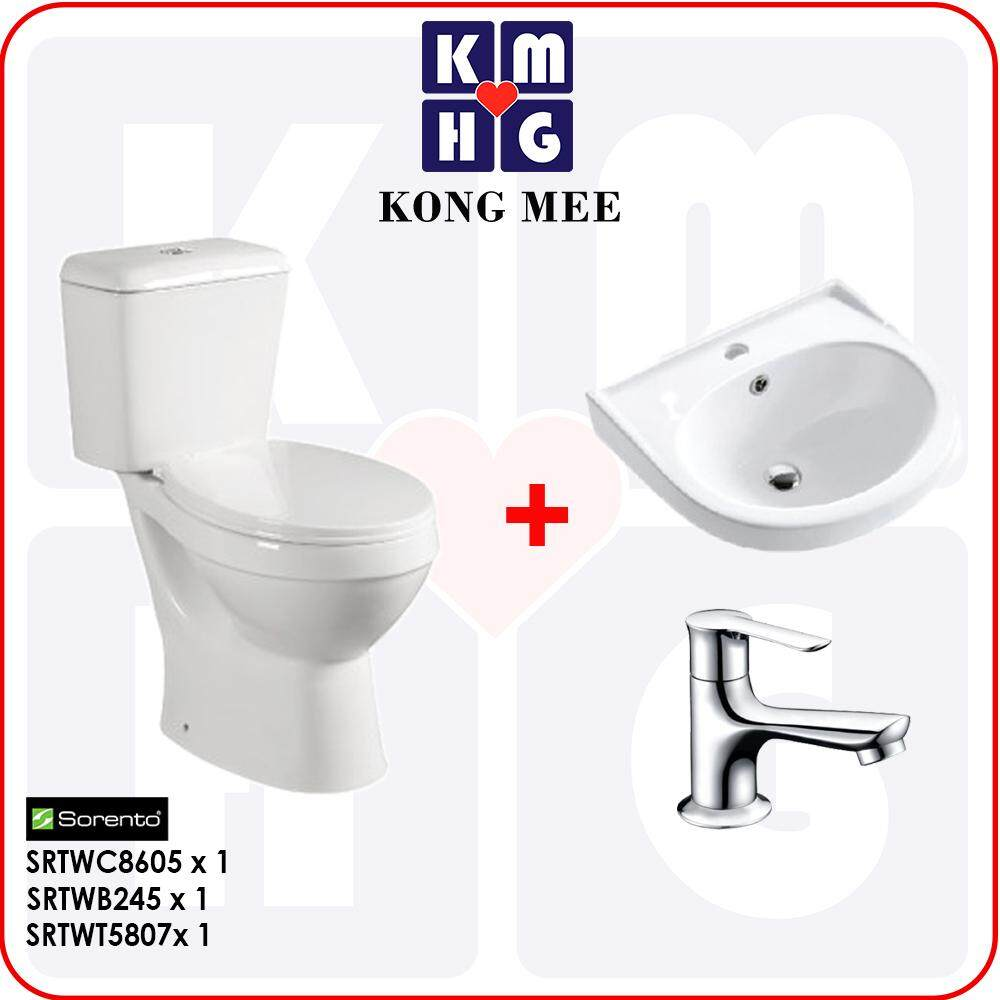 Sorento Super Saving Packages (Ceramic Basin + Basin Tap + Basin Waste + Bottle Trap) by KONGMEE