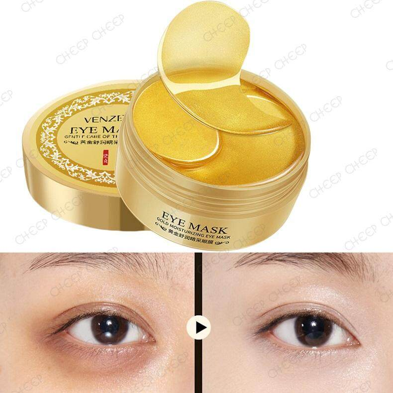 Venzen 24K Gold Collagen Eye Mask for Eyebag Puffiness Dark Circles Fine Lines Wrinkles Crows Feet 60 pcs