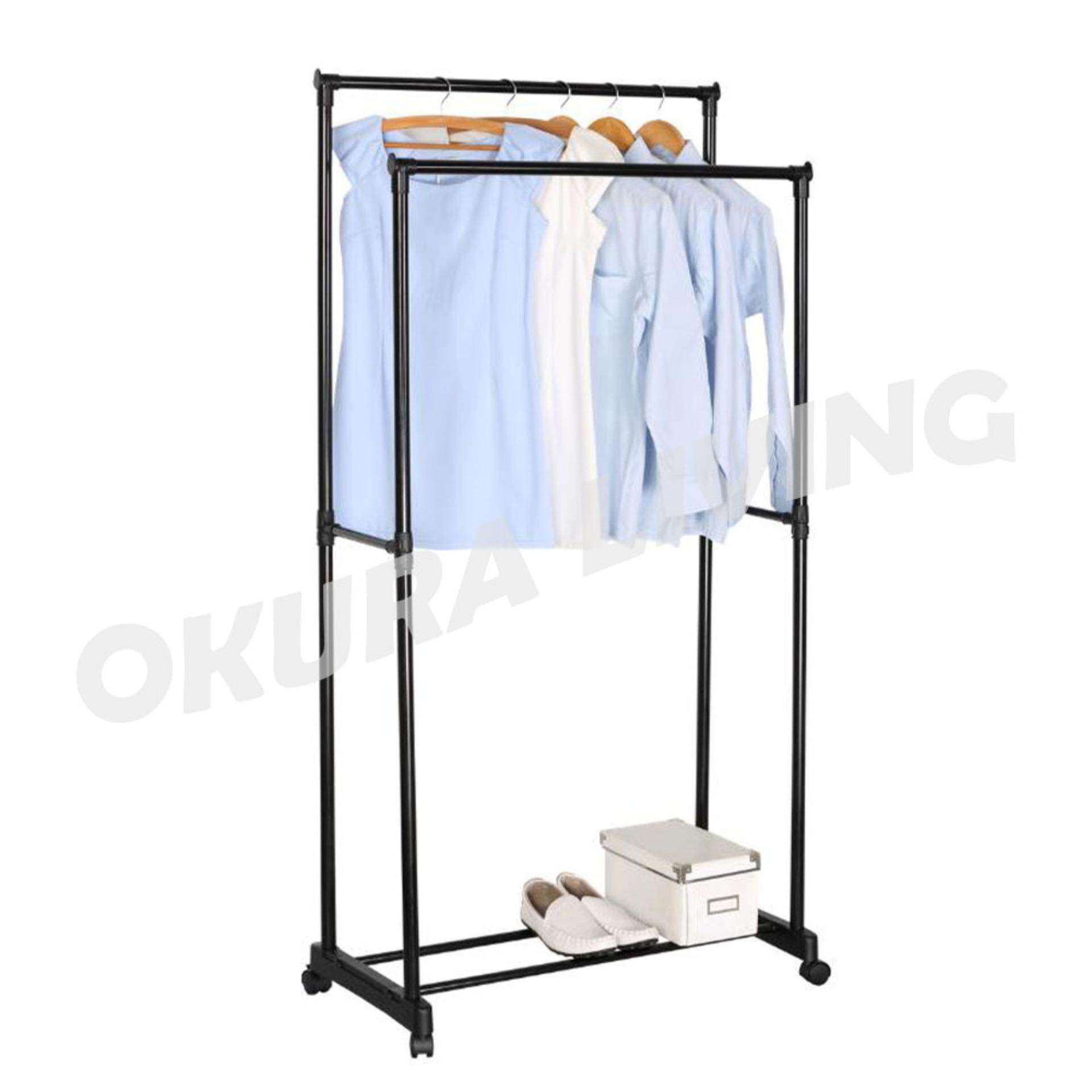 OKURA Double Garment Cloth Hanger and Shoe Rack Powder Coated