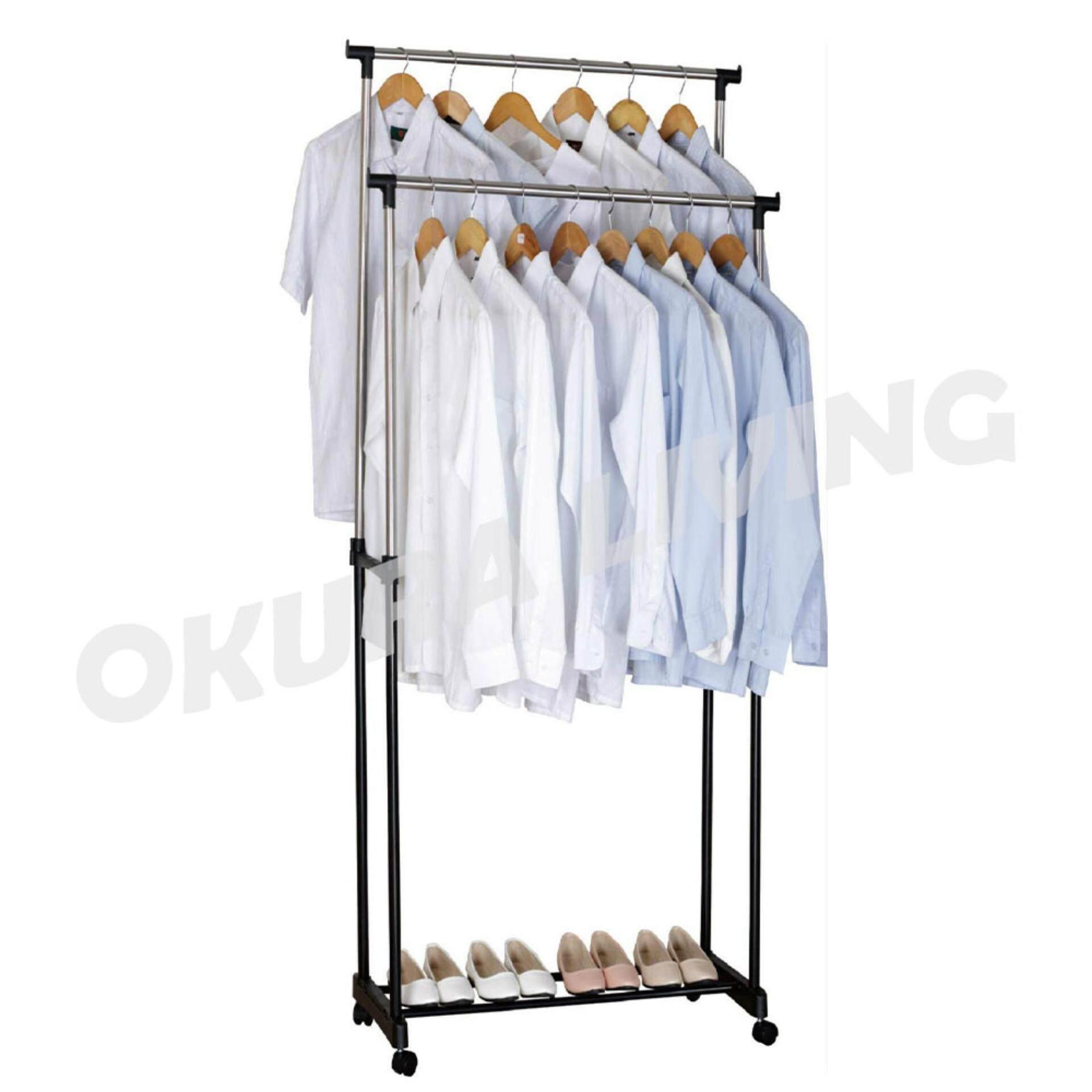 OKURA Adjustable Double Garment Cloth Hanger and Shoe Rack Steel Powder Coated