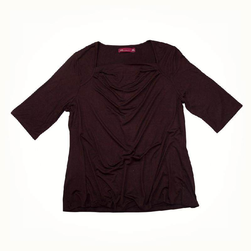 MAMAMIA PLUS SIZE 3/4 SLEEVE FANCY KNIT T-SHIRT MMP1053 (PROMOTION BROWN)