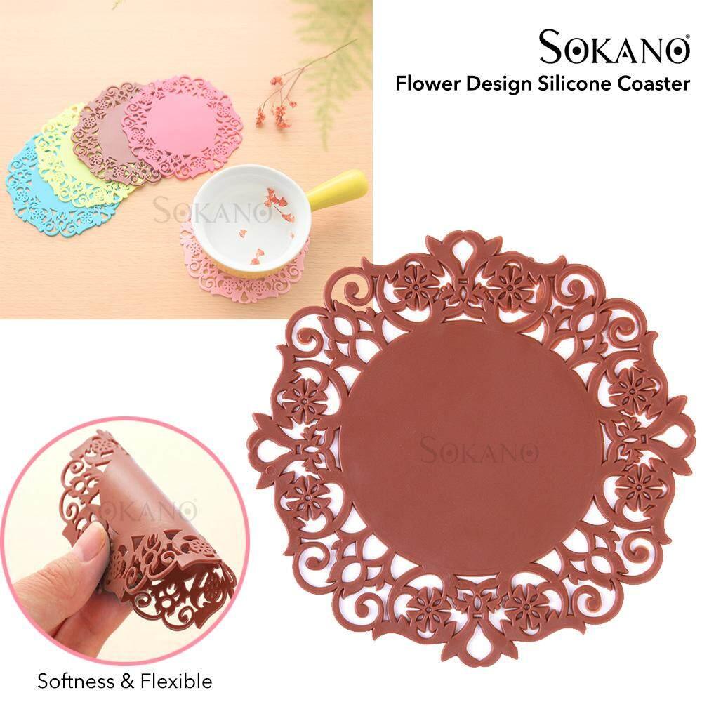 SOKANO Flower Design Silicone Coaster Anti-heat Hot Cup Coaster Anti Slip Pad Table Mat