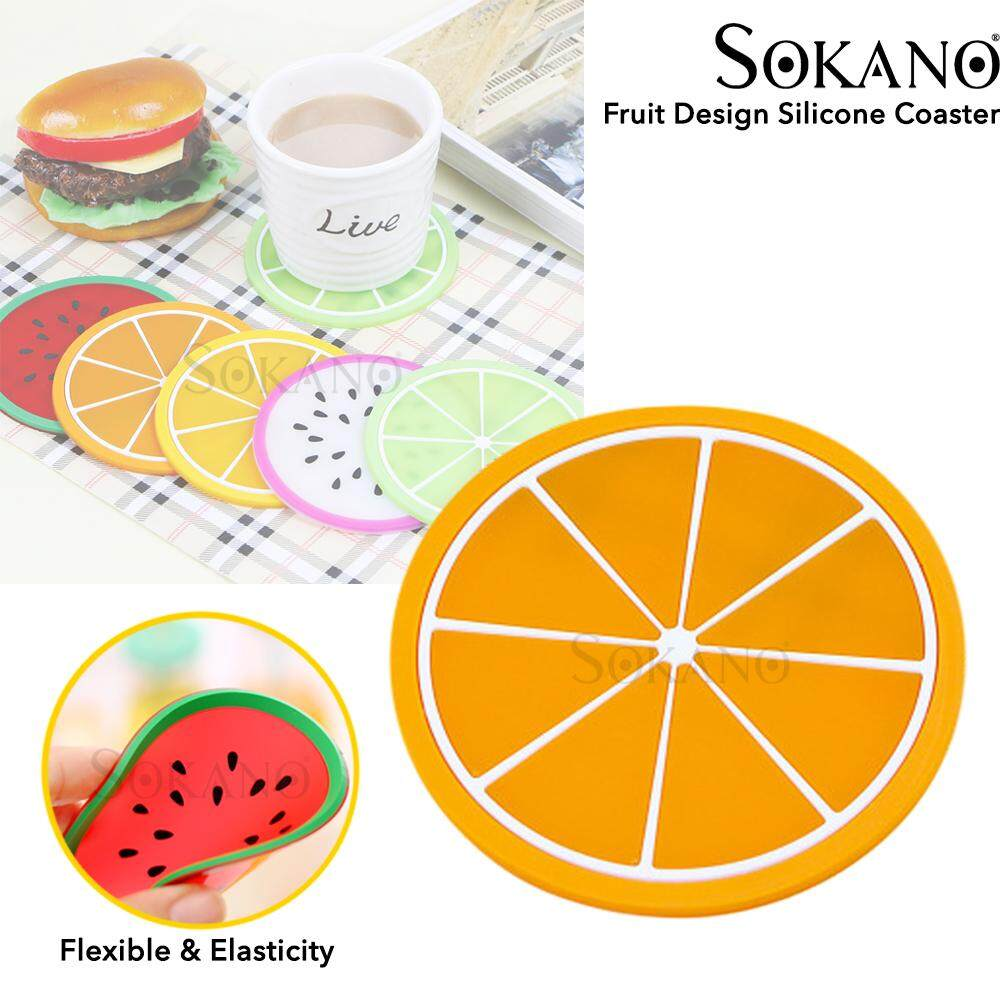 SOKANO Fruit Design Silicone Coaster Anti-heat Hot Cup Coaster Anti Slip Pad Table Mat