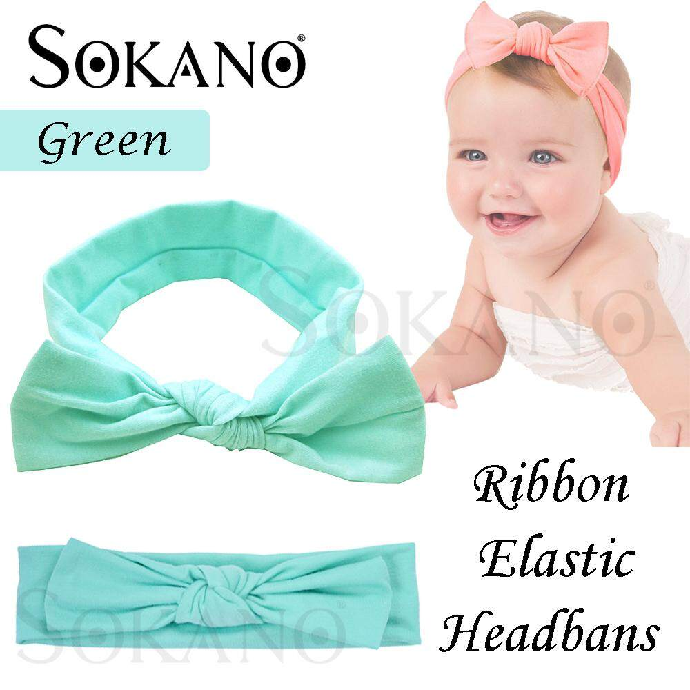 SOKANO Ribbon Type Baby Girl Elastic Turban Headbands Head Wrap Rabbit Ear Hair Band Bayi Rambut Ikat