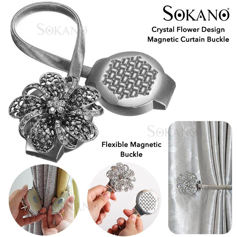 SOKANO Crystal Flower Design Magnetic Curtain Buckle 03 Holder Tieback Clips Home Window Accessories Pengikat Langsir (1Pcs)