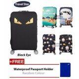 BUNDLE: Travel Star Elastic Travel Luggage Bagasi Cover + Free Passport Holder - Black Eye (L Size) x 1
