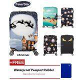 BUNDLE: Travel Star Elastic Travel Luggage Bagasi Cover + Free Passport Holder - Christmas (M Size)