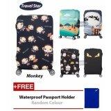 BUNDLE: Travel Star Elastic Travel Luggage Bagasi Cover + Free Passport Holder - Monkey (M Size)
