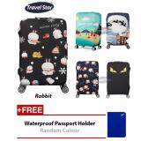 BUNDLE: Travel Star Elastic Travel Luggage Bagasi Cover + Free Passport Holder - Rabbit (M Size)