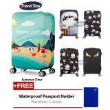 BUNDLE: Travel Star Elastic Travel Luggage Bagasi Cover + Free Passport Holder - Summer Time (S Size)