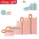 Diniwell Durable Multi Size 4 Pcs Travel Bags Foldable Organizer Bag (Color: Orange) MI1212