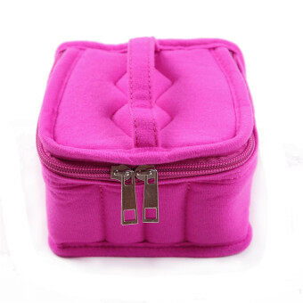 HengSong Portable 16 Bottles Essential Oil Bag Carrying Case DoubleZipper Travel Makeup Cosmetic Bag Hot Pink