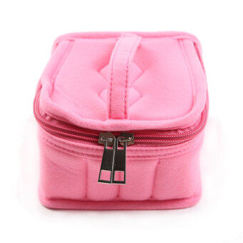 HengSong Portable 16 Bottles Essential Oil Bag Carrying Case DoubleZipper Travel Makeup Cosmetic Bag Pink