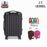 "J.T VESSEL: 1 Year Warranty Durable 24"" Stripe Travel Luggage Black with Free Luggage Cover"