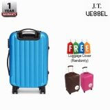 """J.T VESSEL: 1 Year Warranty Durable 24"""" Stripe Travel Luggage Blue with Free Luggage Cover"""