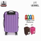 """J.T VESSEL: 1 Year Warranty Durable 24"""" Stripe Travel Luggage Purple with Free Luggage Cover"""
