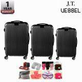 J.T VESSEL:1 Year Warranty Durable Set of 3 ABS + PC Hardcase TSA Luggage with 1pc. Free Gift (randomly choose)