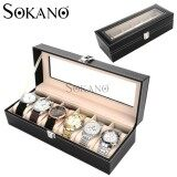 SOKANO Premium Quality PU Leather 6 Slot Watch Jewellery Storage Container Box Gift