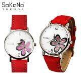 SoKaNo Trendz Yazole Woman Korean Fashion Flower Style Quartz Watch - Red