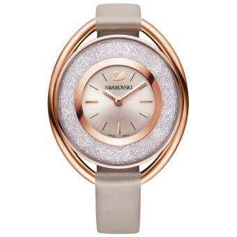 Swarovski Crystaline Oval Grey Rose Gold Tone Watch