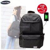 Travel Star 1268 Korean Style Premium Laptop Backpack With External Charging USB Port - Black