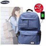 Travel Star 1268 Korean Style Premium Laptop Backpack With External Charging USB Port - Blue