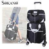 Travel Star 2 in 1 0569 Travel Bag with Trolley and 4 Free Rotatable Wheels - Black