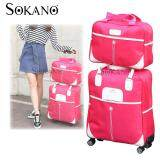 Travel Star 2 in 1 0569 Travel Bag with Trolley and 4 Free Rotatable Wheels - Rose Red