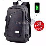 Travel Star 309 Korean Style Premium Laptop Backpack With External Charging USB Port- Black