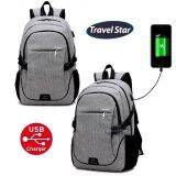 Travel Star 311 Korean Style Premium Double Strap Laptop Backpack With External Charging USB Port - Grey