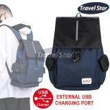 Travel Star 313 Korean Style Premium Double Strap Laptop Backpack with External Charging USB Port- Blue