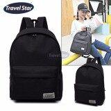 Travel Star 364 Korean Style Premium Double Strap Backpack - Black