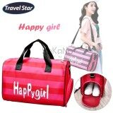 Travel Star Happy Girl Large Capacity Travel Duffle Top Handle Bag with Shoe Compartment- Pink