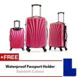 Travel Star Shell Design Hard Case Luggage Bagasi Set 20+24+28 inches Red