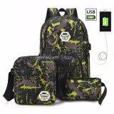 Travel Star SKN826 Korean Style Laptop Backpack 3 Pcs Set With External USB Charging Port- Green