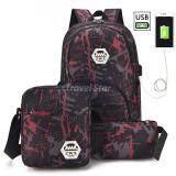 Travel Star SKN826 Korean Style Laptop Backpack 3 Pcs Set With External USB Charging Port- Red