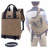 Travel Star TMM Classic Canvas Laptop Double Straps Backpack- Khaki