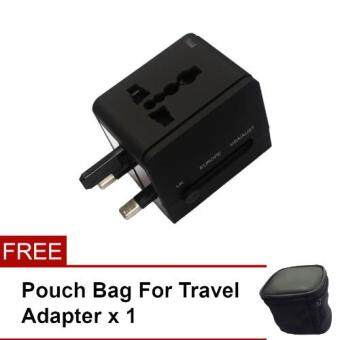 Universal Worldwide Power Wall Plug AC Travel Adapter Charger with Dual USB Charging Ports (US / EU / UK / AU plugs)-Black