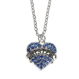 Women Fashion Crystal Heart Pendant Chain Necklace Carved (BlueSISTER)