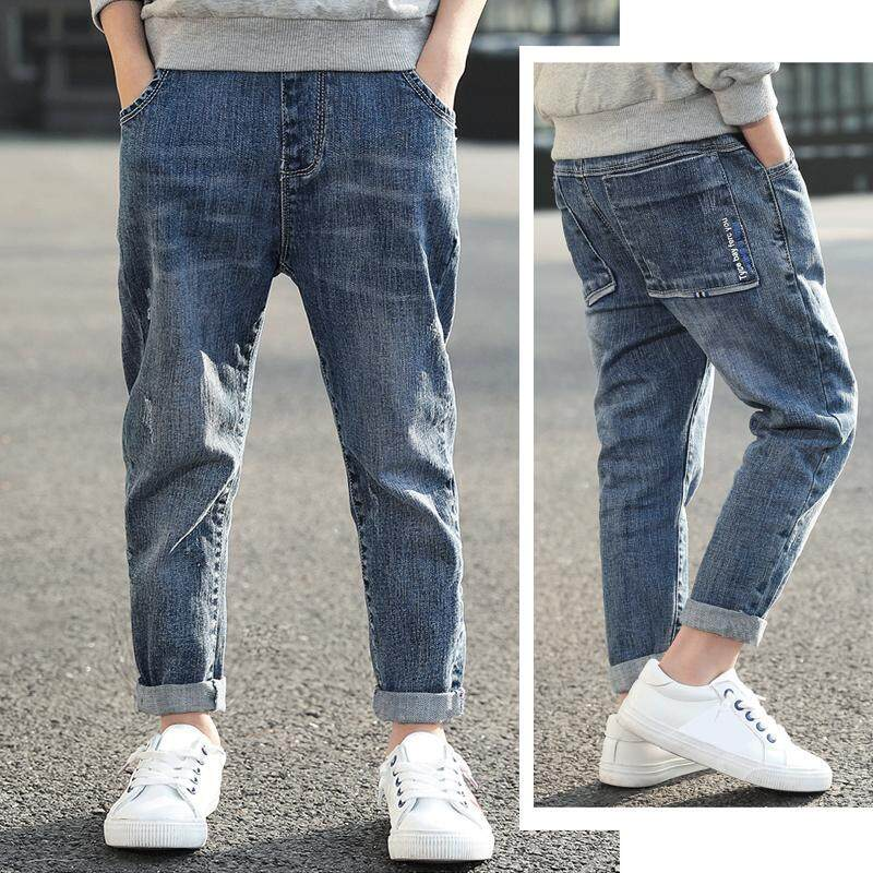 IENENS 5-13 Years Kids Boys Clothes Slim Straight Jeans Children Denim Clothing Long Pants Spring Autumn Baby Boy Casual Trousers Elastic Waist Pants