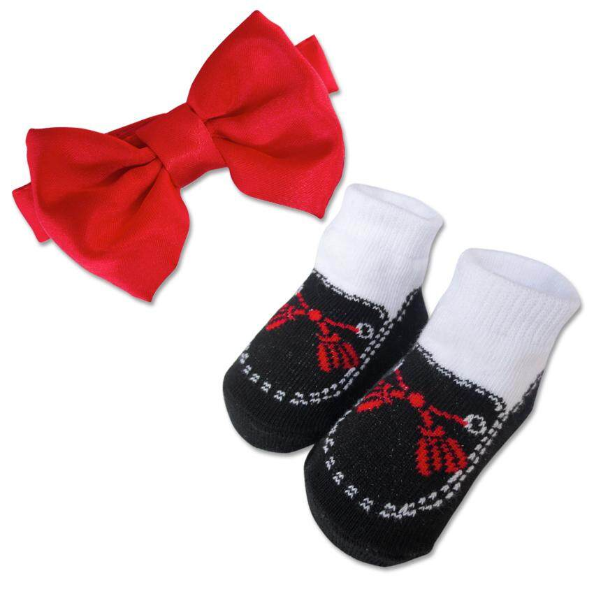 Bumble Bee Baby Bow Tie with Socks Set (Red)