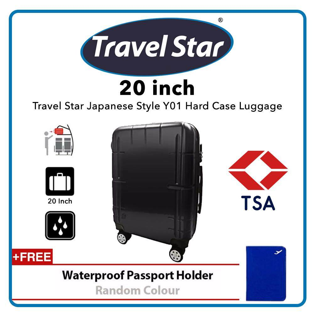 Travel Star Japanese Style Y01 20 Inches Hard Case Luggage Bagasi TSA - Carbon Black