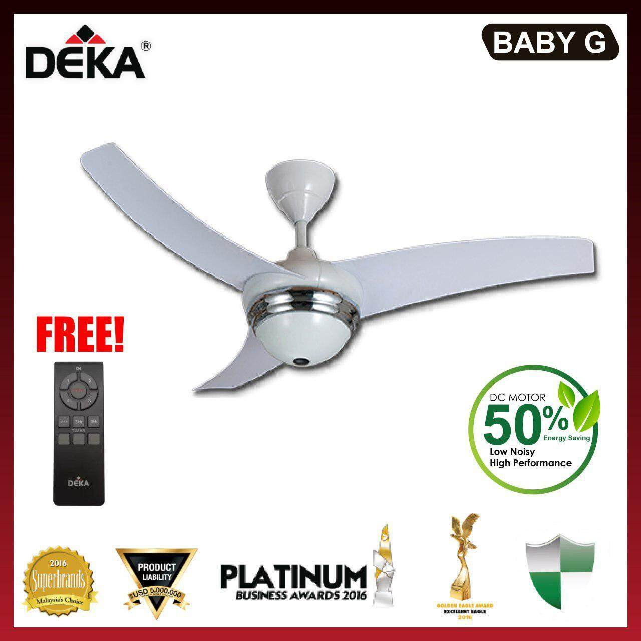DEKA BABY G 42  Ceiling Fan with Remote Control Gun Metal / White Color