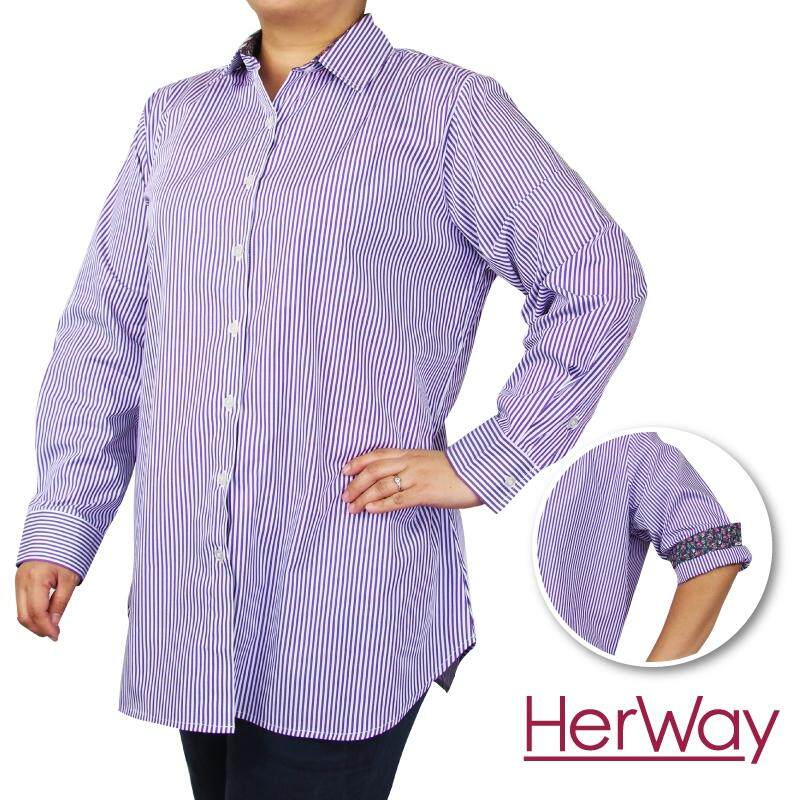 HERWAY PLUS SIZE Ladies Formal LS Stripe Work Shirt HW9055 (Purple)