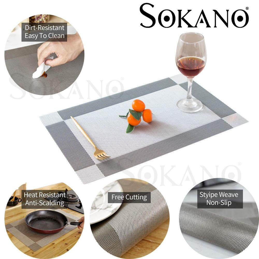 SOKANO KD02 Europe Style Premium 45X30cm Table Placemats PVC Waterproof Dining Kitchen