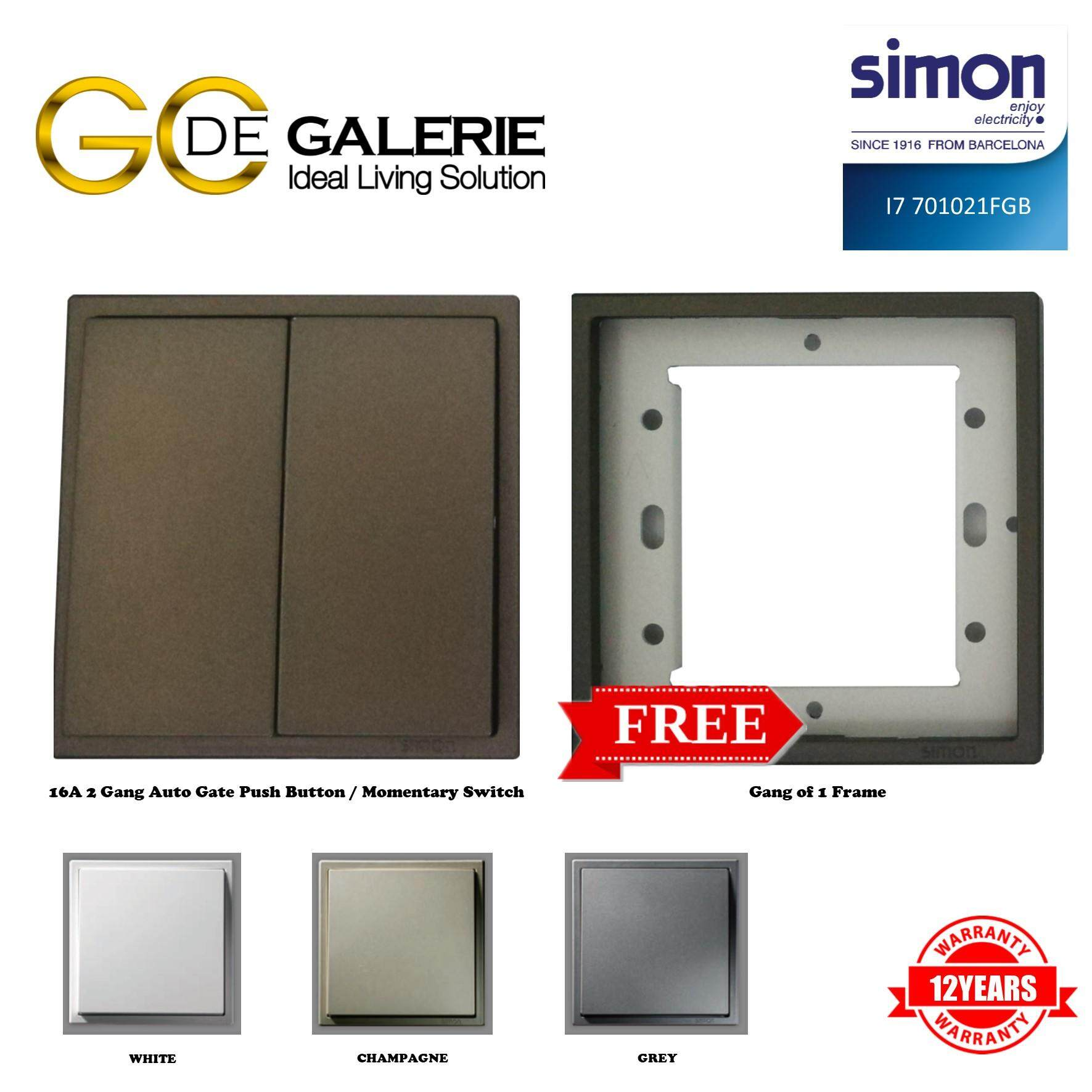SIMON i7 SERIES 701021F 2 GANG AUTO GATE PUSH BUTTON / MOMENTARY GRAPHITE BLACK FREE 1 GANG FRAME