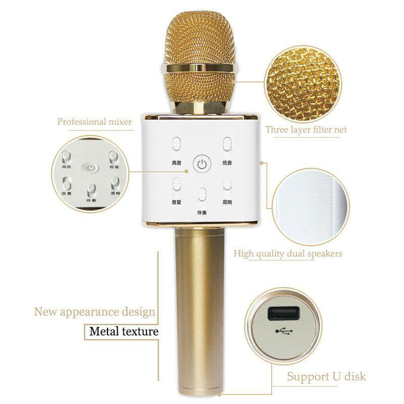 Q7 Wireless Bluetooth Handheled KTV Karaoke Microphone Mic-based players Speaker For Phone